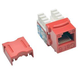 Cat6/Cat5e 110 Style Punch Down Keystone Jack - Red, 25-Pack, TAA