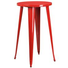 """See Details - Commercial Grade 24"""" Round Red Metal Indoor-Outdoor Bar Height Table"""