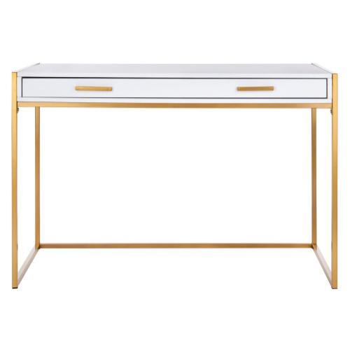 Elodie 1 Drawer Desk - White / Gold