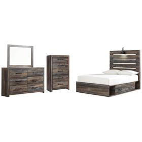 Full Panel Bed With 4 Storage Drawers With Mirrored Dresser and Chest
