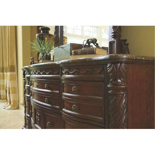 California King Sleigh Bed With Mirrored Dresser, Chest and Nightstand