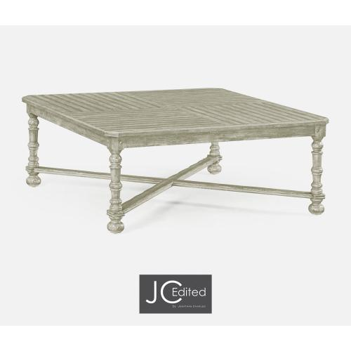 Rustic Grey Large Square Parquet Coffee Table