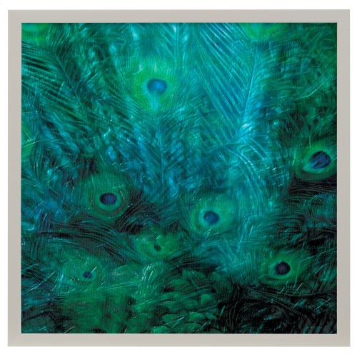 Style Craft - Peacock Galaxy III  Made in USA  Artist Print  Faux Wood Frame Under Glass  Attached Hanging Har