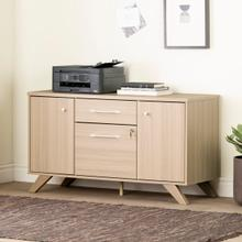 Helsy - 2-Drawer Credenza with Doors, Soft Elm