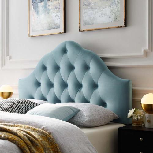 Sovereign Full Diamond Tufted Performance Velvet Headboard in Light Blue