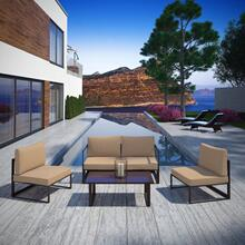 Fortuna 5 Piece Outdoor Patio Sectional Sofa Set in Brown Mocha