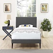 Macie Twin Fabric Platform Bed with Squared Tapered Legs in Gray