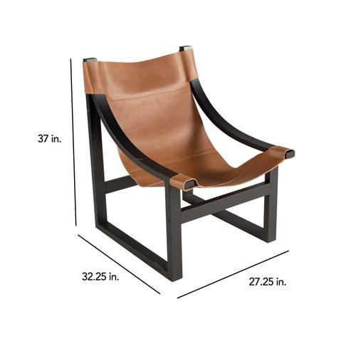 Lima Sling Chair, Natural Leather with Black Frame