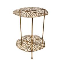 """Product Image - Metal 22"""" Lotus Accent Table, Gold"""