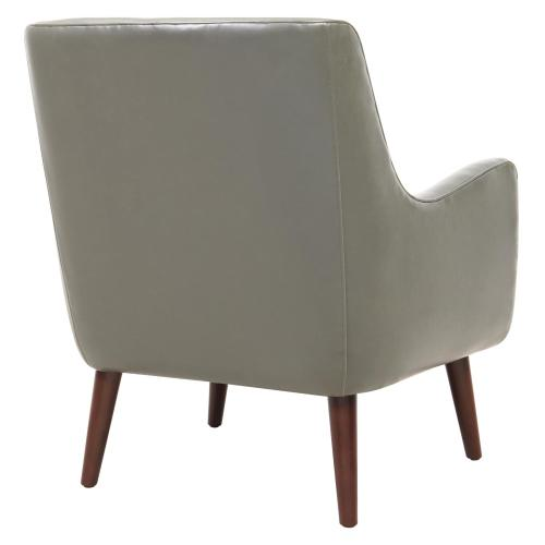 Zoe Bonded Leather Arm Chair Brown Legs, Vintage Gray