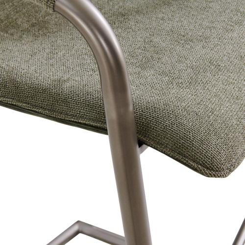 Indy Fabric Bar Stool w/ Arms Silver Frame, Sage Green/Velvet Green