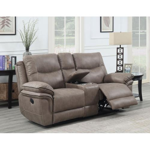 Isabella Manual Reclining Console Loveseat, Sand