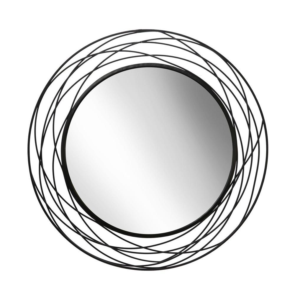 "See Details - Metal 36"" Swirl Mirror, Black Wb"