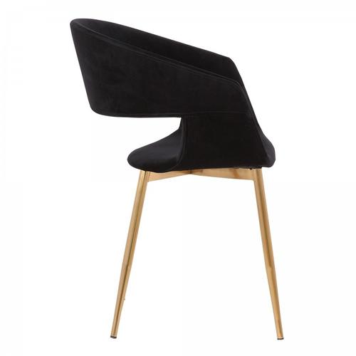 Jocelyn Mid-Century Black Dining Accent Chair with Gold Metal Legs