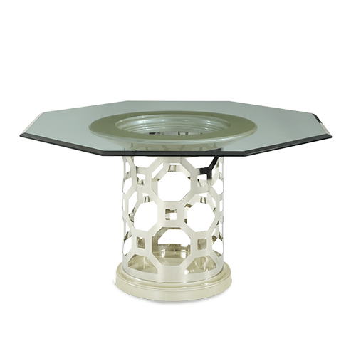 After Eight Pearl 60'' Round Dining Table with Octagonal Shaped Glass Top