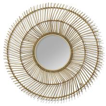 NATURAL BURST  36in w X 36in ht X 2in d  Round Natural Rattan and Metal Wall Mirror