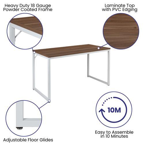 "Gallery - Tiverton Industrial Modern Desk - Commercial Grade Office Computer Desk and Home Office Desk - 47"" Long (Walnut\/White)"