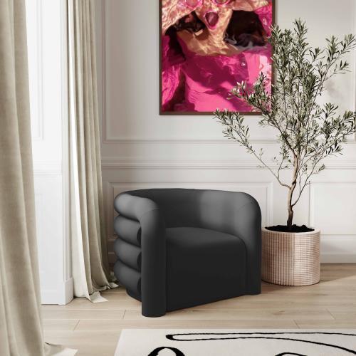 Tov Furniture - Curves Black Velvet Lounge Chair