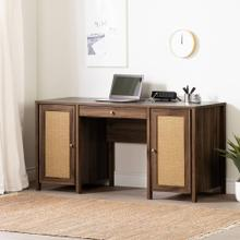 Computer Office Desk with Doors - Natural Walnut and Printed Rattan