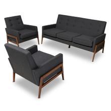See Details - Baxton Studio Perris Mid-Century Modern Dark Grey Fabric Upholstered Walnut Finished Wood 3-Piece Living Room Set
