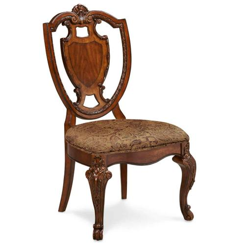 Old World Shield Back Side Chair with Fabric Seat (Sold As Set of 2)