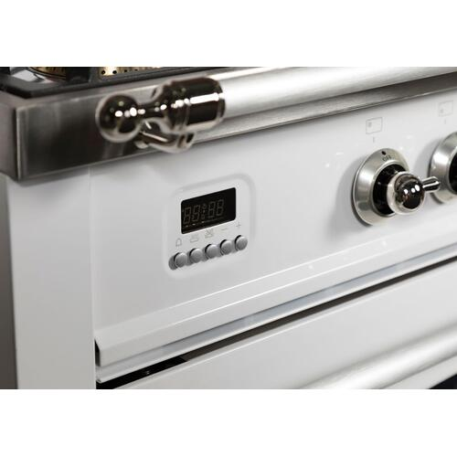 Nostalgie 36 Inch Dual Fuel Liquid Propane Freestanding Range in White with Chrome Trim