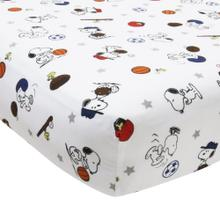 Snoopy Sports White/Blue/Red Baby Fitted Crib Sheet