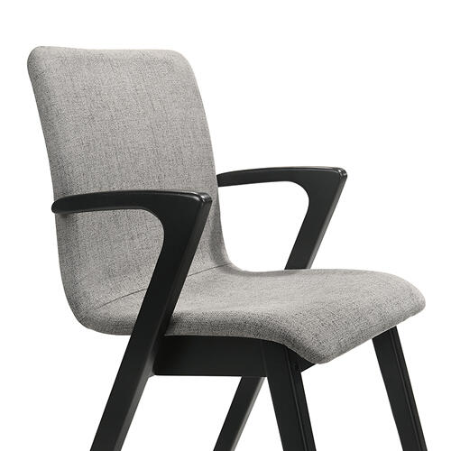 Varde Mid-Century Grey Upholstered Dining Chairs in Black Finish - Set of 2