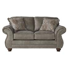 Leinster Faux Leather Upholstered Nailhead Loveseat in Stone Gray