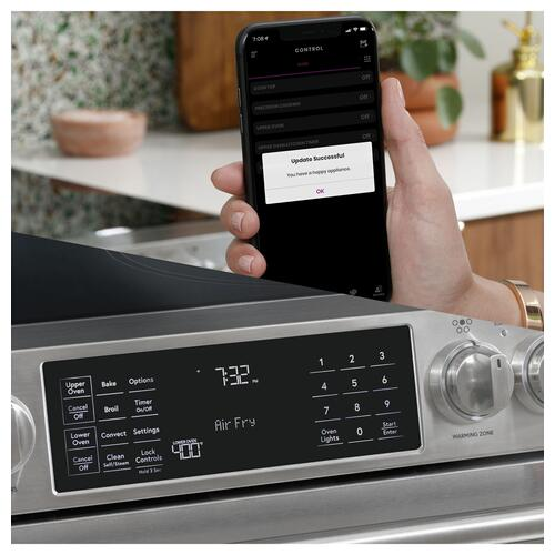 "Cafe - Café™ 30"" Smart Slide-In, Front-Control, Radiant and Convection Range in Platinum Glass"