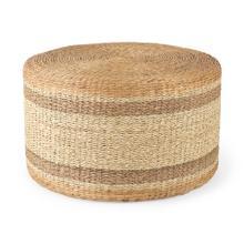 See Details - Maya 29.5L x 29.5W x 15.7H Light Brown W/Medium Brown Stripes Seagrass Round Coffee Table Pouf