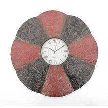 """30"""" x 30"""" x 2"""" Black & Red, Traditional, Floral, Metal - Wall Clock"""