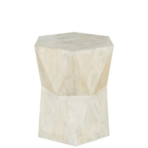 Concave Side Table - Sandy White Finish