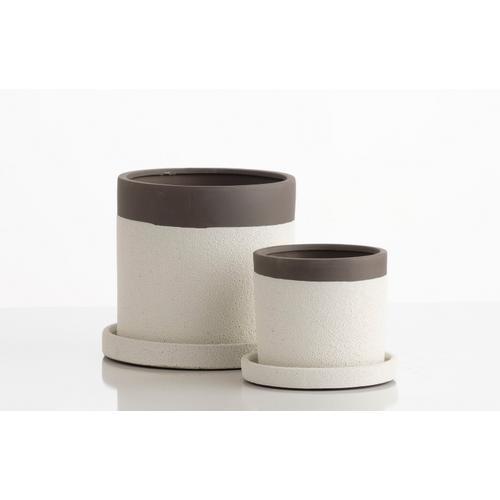 Alfresco Home - Sugar Petits Pot w/ attchd saucer, Set of 2 (Min 4 sets)