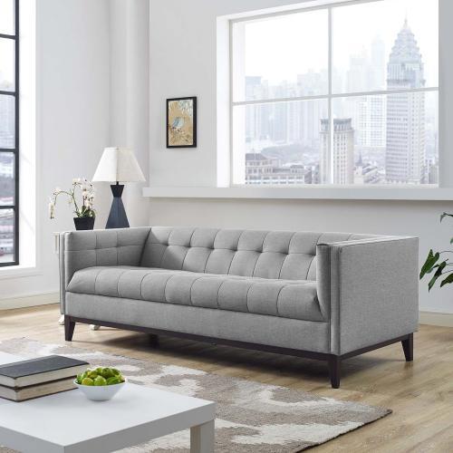 Serve Upholstered Fabric Sofa in Light Gray