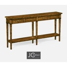 See Details - Country Walnut Four Drawer Console