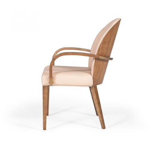 Modrest Rexford Modern Blush Pink & Walnut Dining Armchair