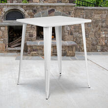 "Commercial Grade 31.5"" Square White Metal Indoor-Outdoor Bar Height Table"