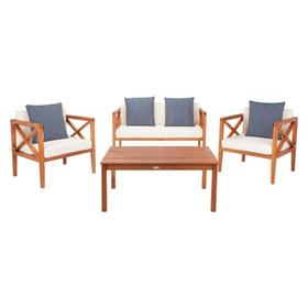 Nunzio 4 PC Outdoor Set With Accent Pillows - Natural / Beige / Navy & White