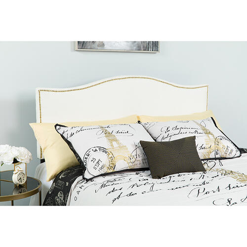 Lexington Upholstered Queen Size Headboard with Accent Nail Trim in White Fabric