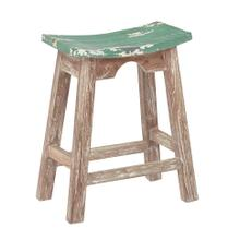 "24"" Saddle Stool With White Wash Base and Rustic Green Seat"