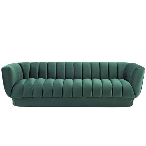 Entertain Vertical Channel Tufted Performance Velvet Sofa in Green