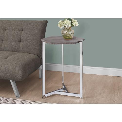 ACCENT TABLE - HEXAGON / DARK TAUPE / CHROME METAL