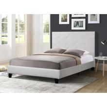 7597 WHITE Faux Leather Platform Bed - FULL