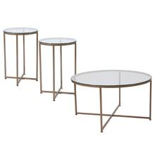 Product Image - Greenwich Collection 3 Piece Coffee and End Table Set with Glass Tops and Matte Gold Frames