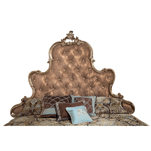 King Panel Bed w/Brown Fabric (3 pc)