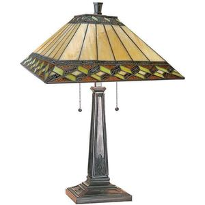 Table Lamp, A/brz W/inglenook Tiffany Shade, 60wx2 A Type