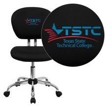 Texas State Technical College Embroidered Black Mesh Task Chair with Chrome Base