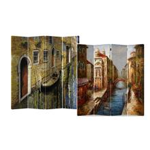 See Details - 4-Panel Double Sided Painted Canvas Room Divider Screen Venice Water street Painting