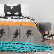 Dreamit - Superheroes Comforter and Pillowcases, Turquoise and Black, Full